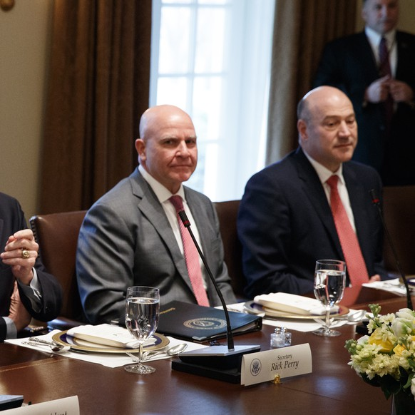 President Donald Trump speaks during a working lunch with Saudi Crown Prince Mohammed bin Salman in the Cabinet Room of the White House, Tuesday, March 20, 2018, in Washington. From left, Trump, Energy Secretary Rick Perry, National Security Adviser H.R. McMaster, and outgoing White House chief economic adviser Gary Cohn. (AP Photo/Evan Vucci)