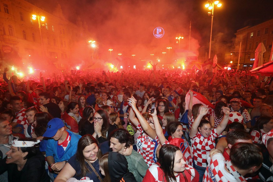 Celebrations in Croatia 11.07.2018., Croatia, Split - Celebration after the victory over England and placing Croatia in the World Cup finals PUBLICATIONxINxGERxSUIxAUTxHUNxONLY DaliborxUrukalovic/PIXSELL