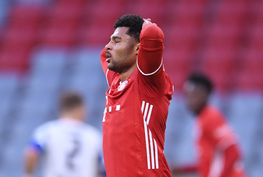 FILE PHOTO: Soccer Football - Bundesliga - Bayern Munich v Hertha BSC - Allianz Arena, Munich, Germany - October 4, 2020. Bayern Munich's Serge Gnabry reacts. Pool via REUTERS/Andreas Gebert DFL regulations prohibit any use of photographs as image sequences and/or quasi-video./File Photo