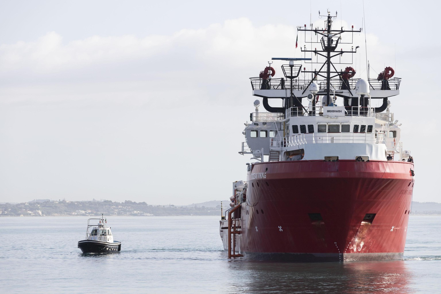 The humanitarian rescue ship Ocean Viking arrives at Pozzallo harbor, in Sicily, southern Italy, Wednesday, Oct. 30, 2019. A humanitarian rescue ship operated by two French charities has arrived at a port in Sicily after nearly two weeks blocked at sea. Ocean Viking arrived in Pozzallo Wednesday morning, 12 days after it rescued 104 migrants from a rubber dinghy off Libya. Ocean Viking refused a Libyan instruction to land there, as it is not considered a place of safety.. (Francesco Ruta/ANSA via AP)