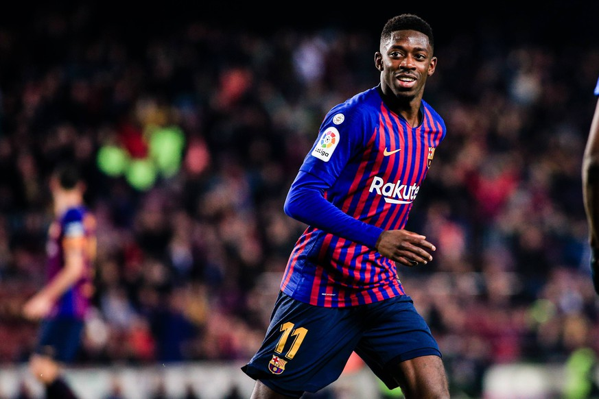 January 20, 2019 - Barcelona, BARCELONA, Spain - 11 Ousmane Dembele of FC Barcelona Barca celebrating his goal during the Spanish championship La Liga football match between FC Barcelona and CD Leganes on 20 of January 2019 at Camp Nou stadium in Barcelona, Spain Soccer: La Liga - FC Barcelona v Leganes PUBLICATIONxINxGERxSUIxAUTxONLY - ZUMAa181 20190120_zaa_a181_232 Copyright: xAFP7x
