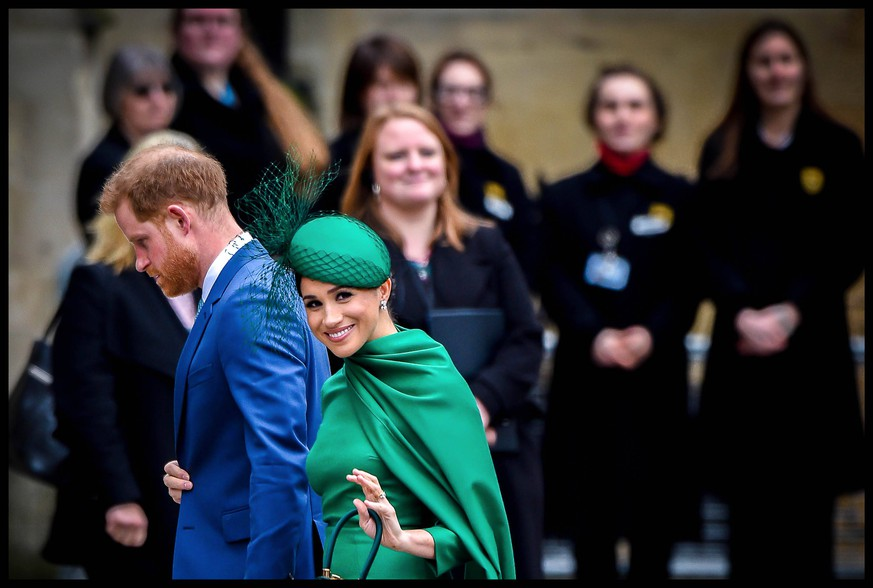 2020. London, England. Commonwealth Day. Prince Harry and Meghan Markle, the Duke and Duchess of Sussex besuchen Commonwealth Day Gottesdienst in der Westminster Abbey in London. Der letzte Auftritt in royaler Rolle. 2020 Prinz Spiele Gutscheine Reise