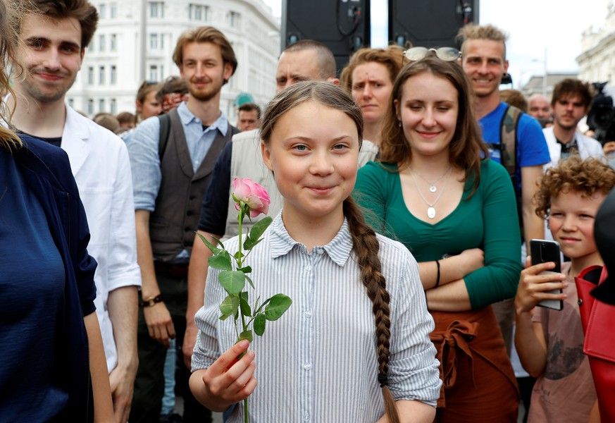 Greta Thunberg attends a demonstration calling for action on climate change, during the
