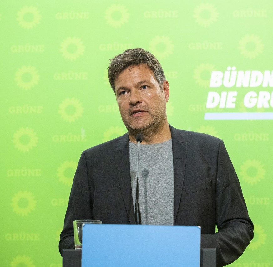 Vorsitzender von Buendnis 90/Die Gruenen Robert Habeck waehrend einer Pressekonferenz in Berlin am 14. Oktober 2019. Pressekonferenz von Buendnis 90 / Die Gruenen in Berlin  Chairman of Buendnis 90 The Greens Robert Habeck during a press conference in Berlin on 14 October 2019 Press conference of Buendnis 90 The Greens in Berlin