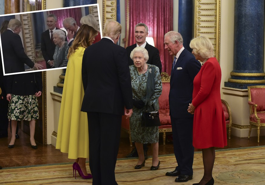 PAP11192292 3 December 2019. The Queen, accompanied by other Members of the Royal Family, hosts a reception for NATO leaders, spouses or partners, and delegations, at Buckingham Palace, London, UK, on the 3rd December 2019. Here, Queen Elizabeth, Melania Trump, Donald Trump, Prince Charles, Camilla Credit: JWRota/GoffPhotos.com Ref: KGC-512 No UK Sales 248235 2019-12-03 London Royaume Uni PUBLICATIONxINxGERxAUTxONLY Copyright: xPapixsx/xStarfacex STAR248235048