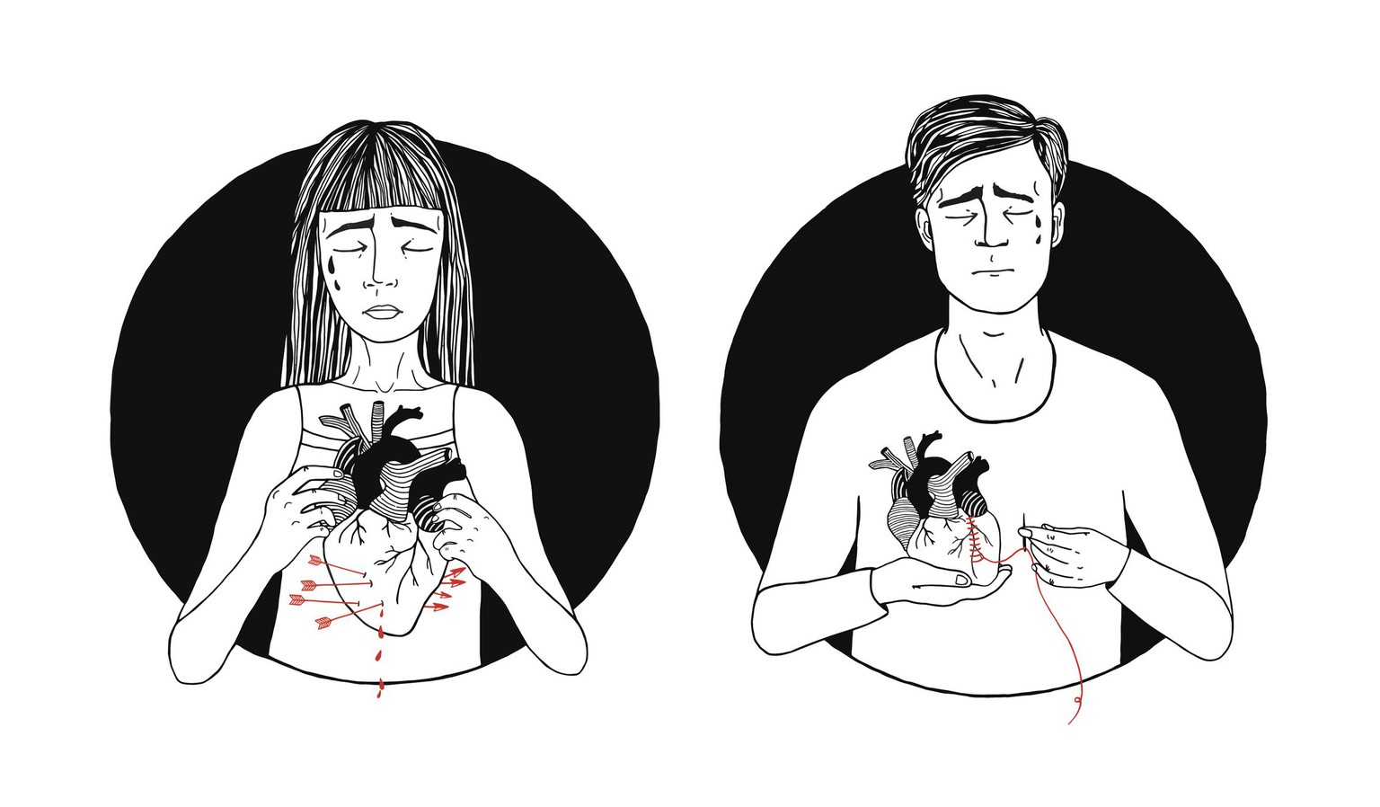 broken heart concept. hand drawn illustration