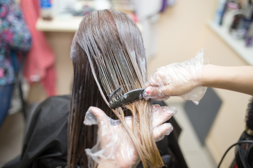 hair coloring in the beauty salon