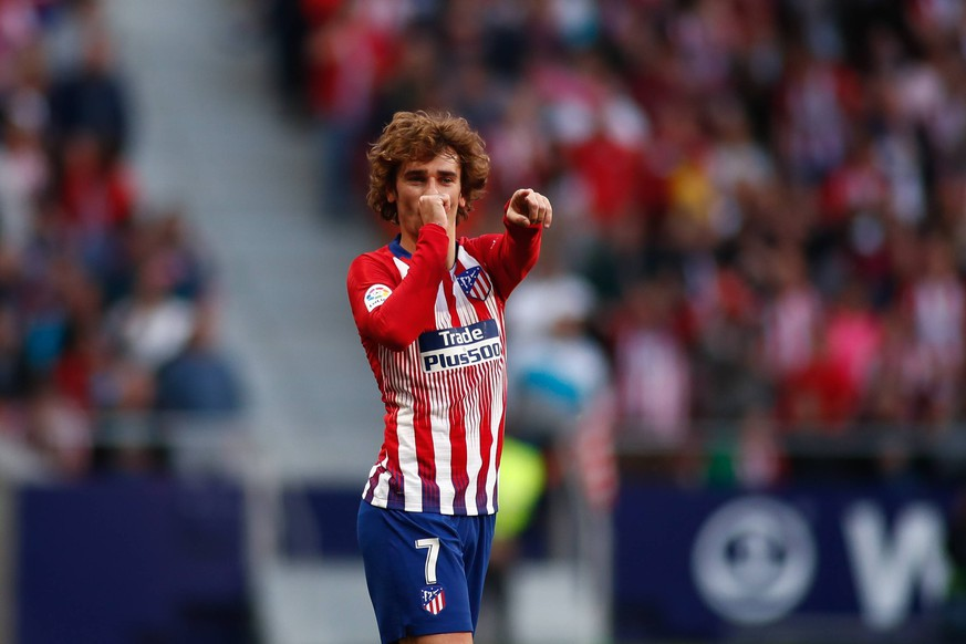 April 13, 2019 - Madrid, MADRID, SPAIN - Antoine Griezmann of Atletico de Madrid celebrates a goal during the spanish championship, La Liga, football match played between Atletico de Madrid and RC Celta de Vigo at Wanda Metropolitano Stadium in Madrid, Spain, on April 13, 2019. Soccer: La Liga - Atletico de Madrid v RC Celta PUBLICATIONxINxGERxSUIxAUTxONLY - ZUMAa181 20190413_zaa_a181_078 Copyright: xAFP7x
