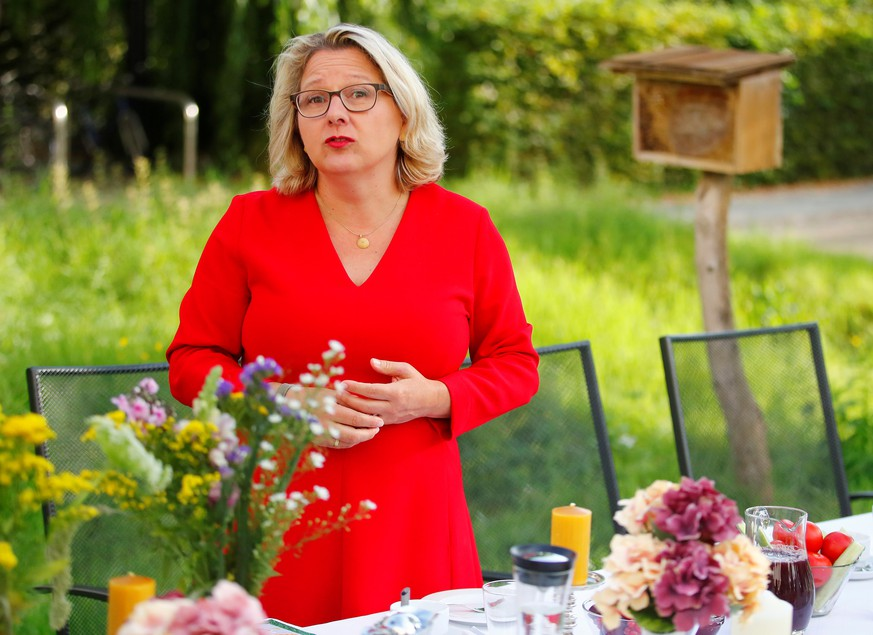 German Environment Minister Svenja Schulze speaks to media in the garden at her ministry in Berlin, Germany, September 4, 2019. REUTERS/Hannibal Hanschke