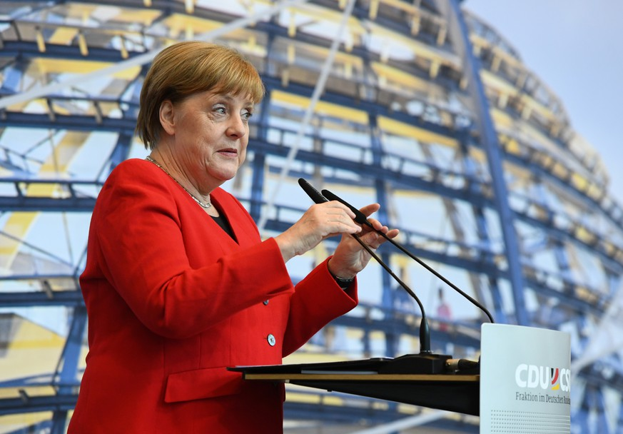 German Chancellor Angela Merkel speaks during a health congress of the Christian Democratic Union and the Christian Social Union (CDU/CSU) parliamentary fraction in Berlin, Germany, May 8, 2019.    REUTERS/Annegret Hilse