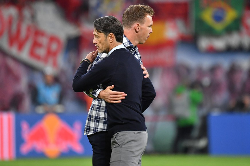 Niko KOVAC (Trainer Bayern Muenchen) und Julian NAGELSMANN (Trainer L) shake hands nach Spielende. Fussball 1. Bundesliga, 4.Spieltag,Spieltag04, RB Leipzig (L) - FC Bayern Muenchen (M) , am 14.09.2019 in LEIPZIG 1-1. R E D B U L L A R E N A, DFL REGULATIONS PROHIBIT ANY USE OF PHOTOGRAPHS AS IMAGE SEQUENCES AND/OR QUASI-VIDEO. *** Niko KOVAC coach Bayern Muenchen and Julian NAGELSMANN coach L shake hands after the end of the game soccer 1 Bundesliga, 4 Spieltag,Spieltag04, RB Leipzig L FC Bayern Muenchen M , on 14 09 2019 in LEIPZIG 1 R E D B U L L A R E N A, DFL REGULATIONS PROHIBIT ANY USE OF PHOTOGRAPHS AS IMAGE SEQUENCES AND OR QUASI VIDEO