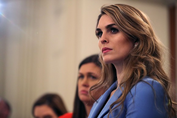 WASHINGTON, DC - FEBRUARY 21:  (AFP OUT) White House Communications Director Hope Hicks attends a listening session hosted by U.S. President Donald Trump with student survivors of school shootings, their parents and teachers in the State Dining Room at the White House February 21, 2018 in Washington, DC. Trump is hosting the session in the wake of last week's mass shooting at Marjory Stoneman Douglas High School in Parkland, Florida, that left 17 students and teachers dead.  (Photo by Chip Somodevilla/Getty Images)